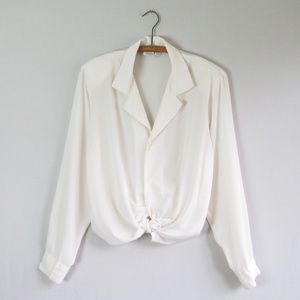 Vintage ivory semi sheer collared blouse